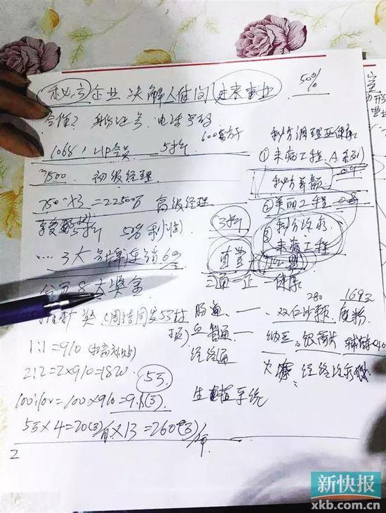 ■权健门店的工作人员在给新快报记者计算分成模式。