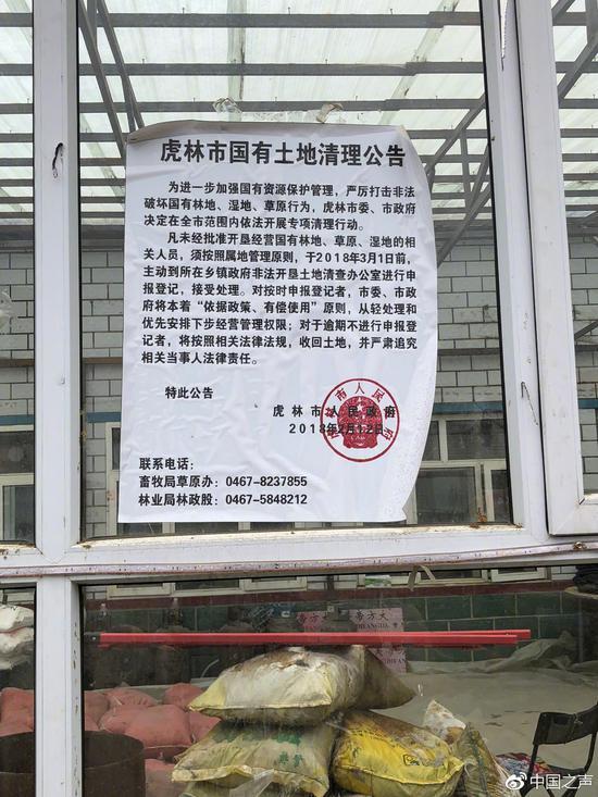 虎林市政府贴在村里的《国有土地清理公告》
