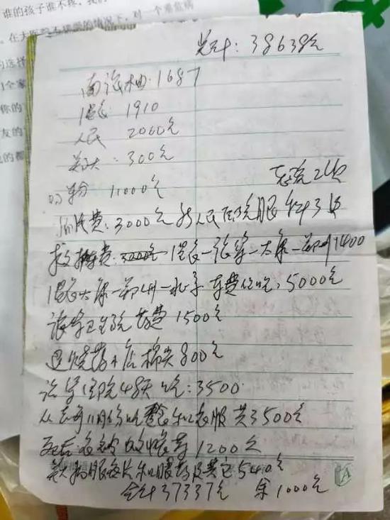 凤雅爷爷梳理的花销清单。实习生王露晓摄