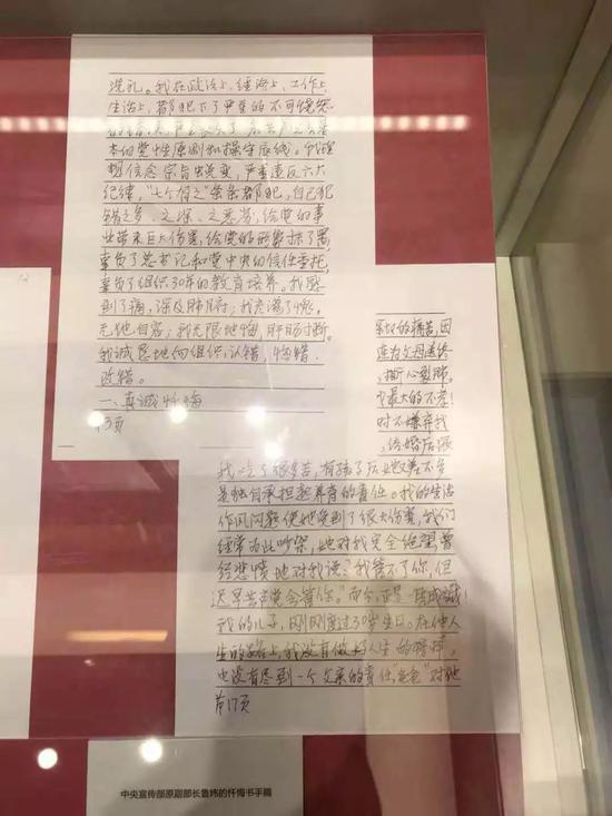 鲁炜的忏悔书手稿。(图源北京青年报)