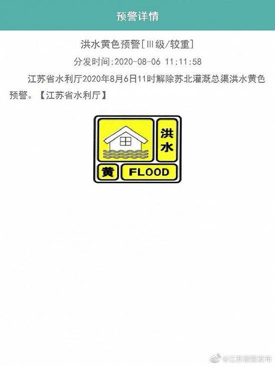 江苏:解除苏北灌溉总渠洪水黄色预警