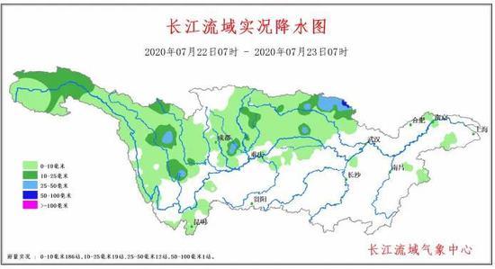 7月22日07时至7月23日07时长江流域实况降水图
