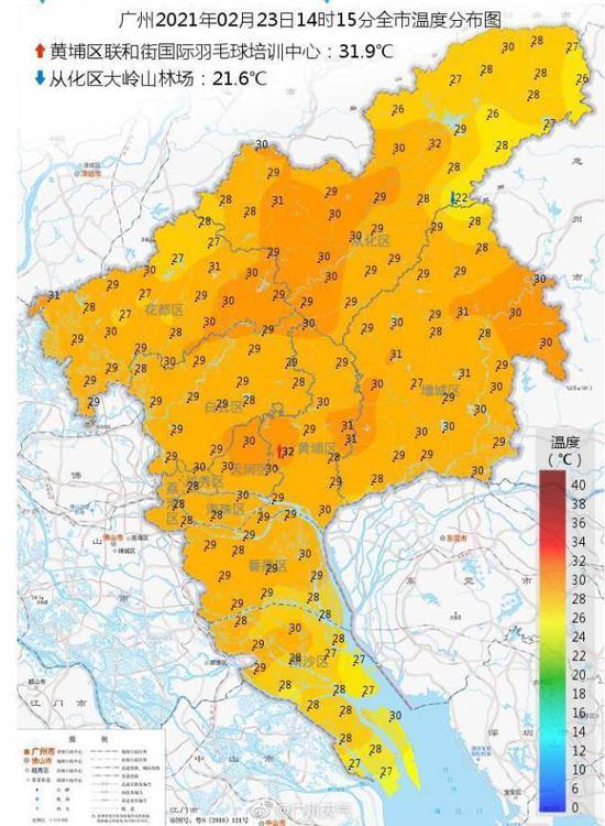 再刷新纪录!今日广州热到全国第一,首次在2月温度超30℃图片