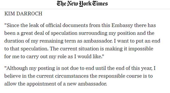 图为《纽约时报》刊登的达罗克的辞职信