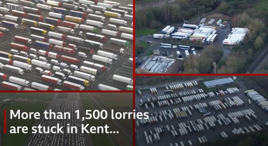 英国1500多辆货车因疫情卡在半道 高速宛如停车场