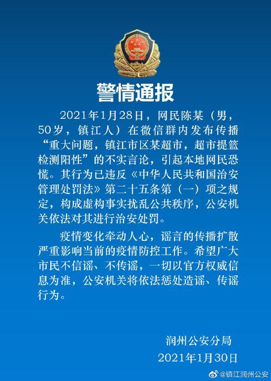江苏镇江某超市提篮检测阳性?警方:一网民发布传播不实言论被处罚图片