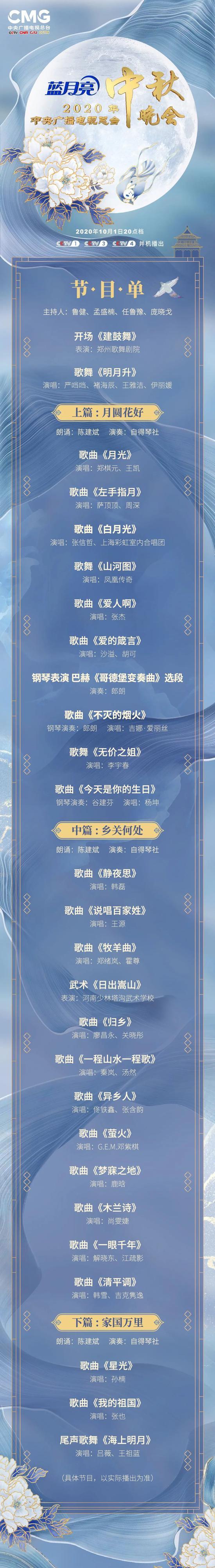 官宣!2020年中央广播电视总台中秋晚会节目单来了!图片