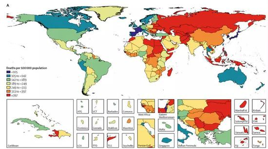 紫色块是地球上饮食结构引发死亡率最低的区域