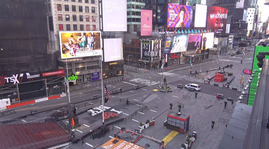 2020年4月19日的纽约时报广场。/ EarthCam