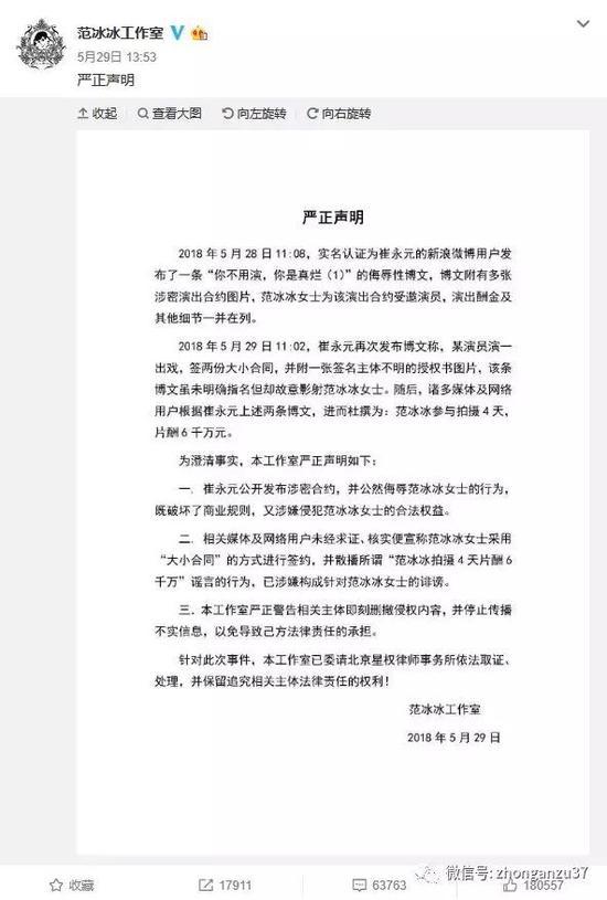 ▲5月29日,范冰冰工作室发声明称崔永元涉嫌构成诽谤。   微博截图
