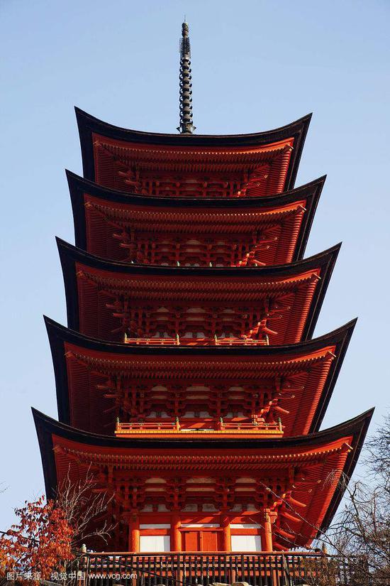 日本宫岛五重塔