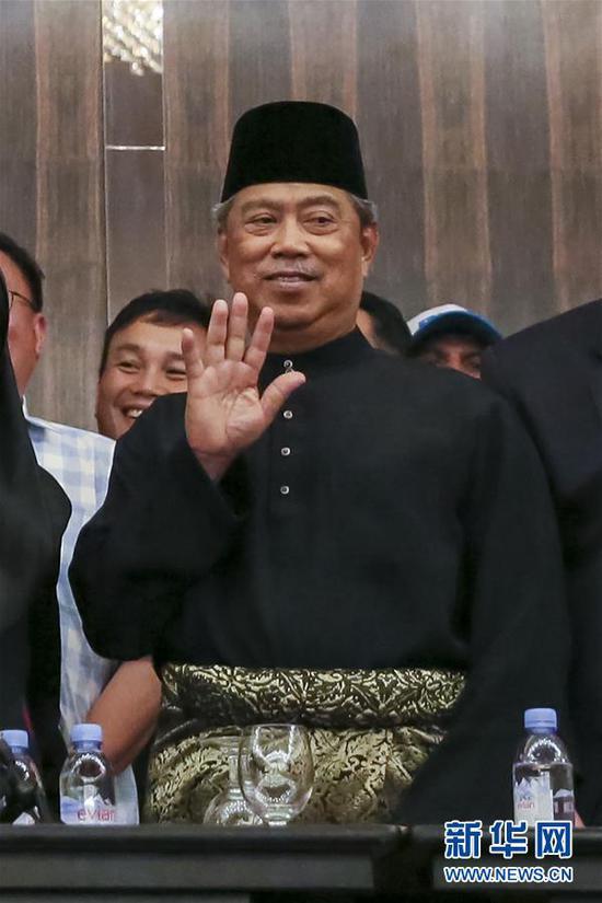 2018年5月10日毛希丁·亚辛在马来西亚必打灵查亚出席新闻发布会的资料照片。新华社记者 朱炜 摄