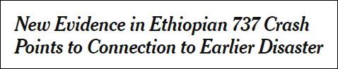 《纽约时报》:埃航737坠机的新证据指向与之前(狮航)坠机的联系