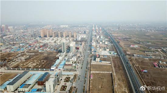 这是河北雄安新区容城县县城(3月21日无人机拍摄)。新华社记者 杨世尧 摄