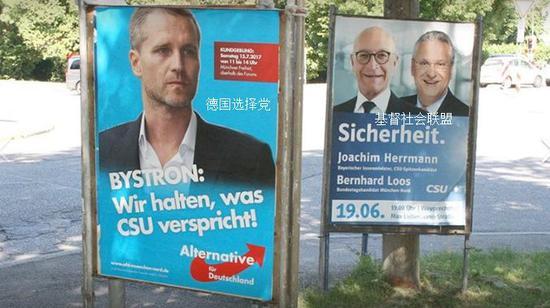 """(图为""""德国选择党""""直接针对 """"基督社会联盟""""打出的竞选标语:我们才能兑现他们的承诺)"""