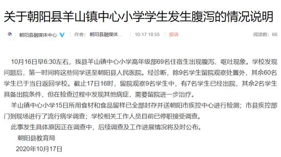 辽宁朝阳一中心小学69名学生疑似中毒,教育局:相关人员已停职图片