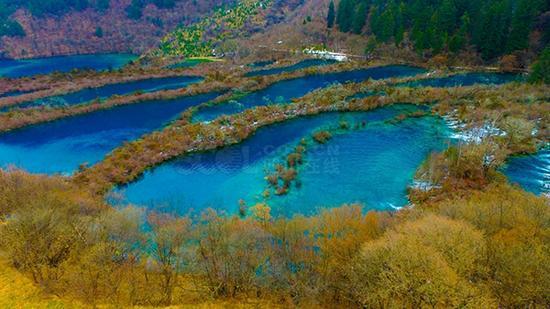 九寨沟冬日航拍:壮美景色依旧! 四川在线 图