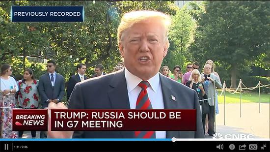 特朗普就把俄罗斯请回G7的问题谈了超过1分20秒(CNBC视频截图)