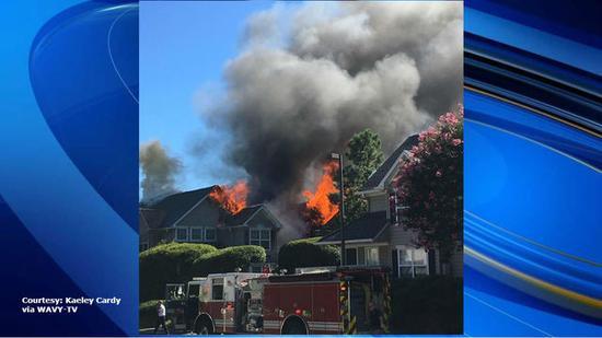 图为直升机引发大火视频截图