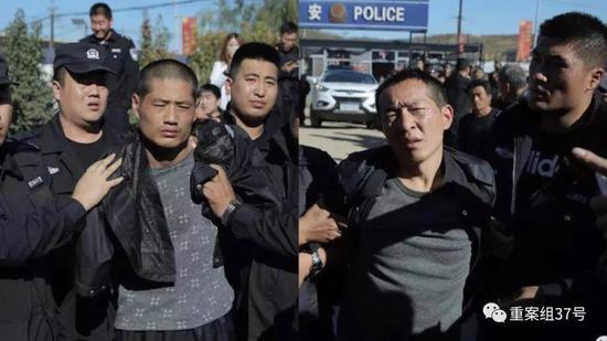 """▲越狱逃亡两天后,王磊和张贵林于河北平泉落网。图片来源公号""""微警事儿"""""""