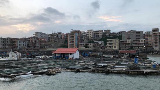 (养殖区的渔排及背后的肖厝村,村民建筑依海岸山势而建,建筑密集。)