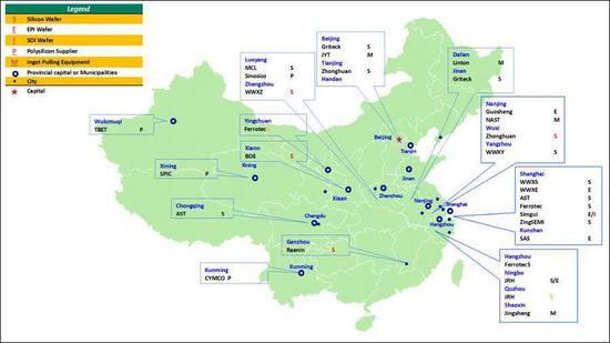 近年来大陆地区晶圆厂格局(含300mm晶圆厂) 图自SEMI