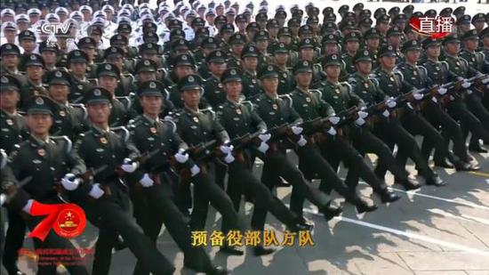 2019年国庆70周年阅兵式预备役部队方队着07式春秋常服。