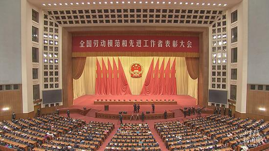 △表彰大会最先前的会场(总台央视记者郭鸿拍摄)