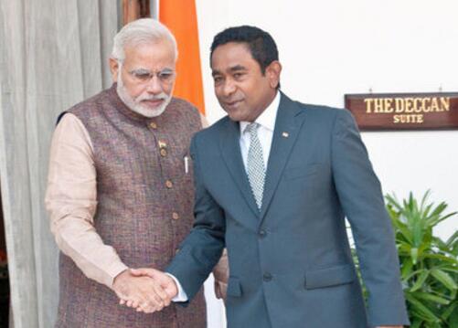 印度总理莫迪与马尔代夫总统亚明