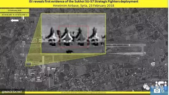 卫星拍到了俄罗斯在叙利亚军事基地里装置排了两架苏-57