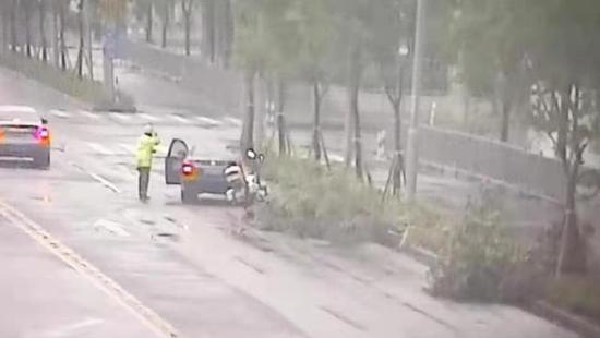 台风暴雨的上海街头 民警为何向驾驶员连敬两个礼|行道树