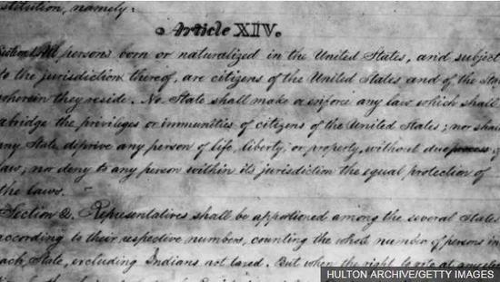 美國憲法修正案原始文件。圖片來源:BBC