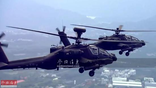 ▲臺軍AH-64E雙機編隊飛行