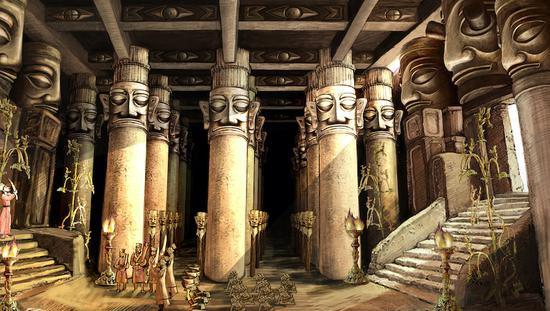 三星堆神庙回复图,两个祭奠坑中的出土文物,已往大概都是悬挂在宗庙中的。 金磊磊绘、广西师范大学出书社 图