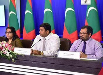 马尔代夫政府记者招待会(图片来源:马尔代夫政府办公室)