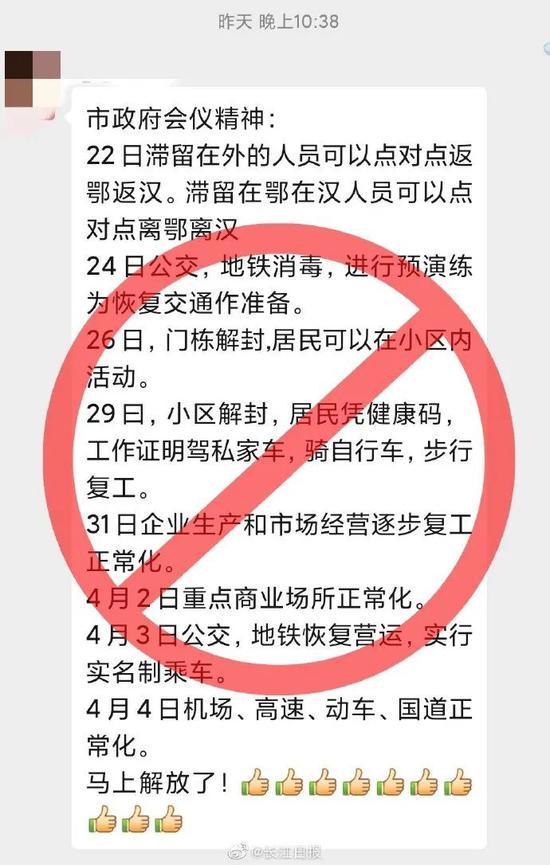"""网传武汉""""小区解封、商业交通功能恢复时间表""""不实图片"""