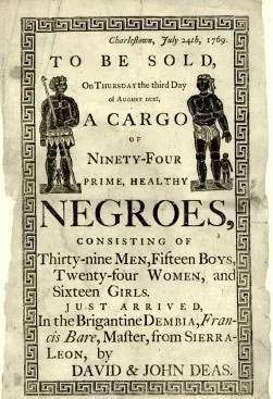 1769年,美国一个黑人奴隶拍卖会的广告