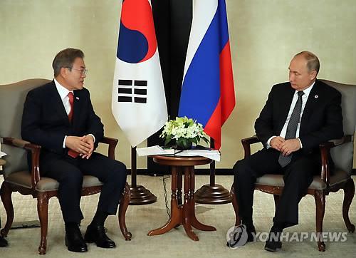 文在寅14日与普京举行会谈。(韩联社)