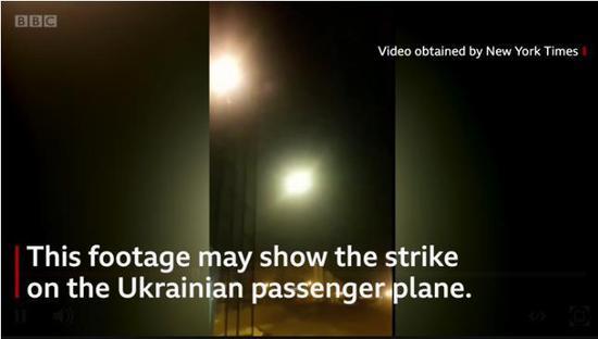 ▲伊朗方面称,已逮捕了拍摄这段客机被导弹击落视频的人。图据BBC新闻
