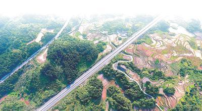 利用复合地基技术修建的兰海高速公路在梯田间延伸。人民视觉