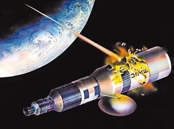 资料图片:艺术家绘制的卫星遭激光武器摧毁设想图。