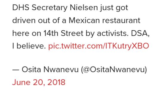 目击者称国土安全部长被轰出墨西哥餐厅