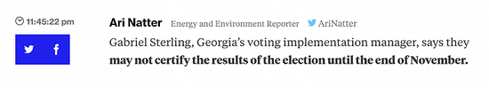 佐治亚州投票经理:可能到本月底才会确认选举结果