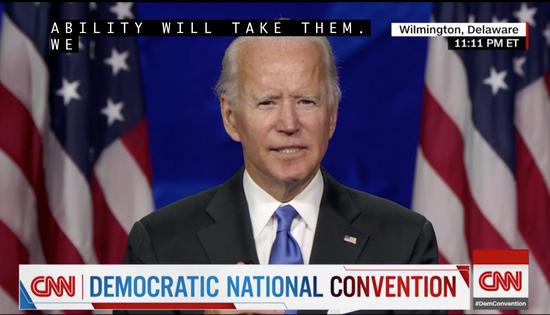 拜登接受民主党2020年总统候选人提名后发表讲话。CNN视频截图