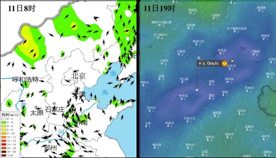 典型时刻地面风场实况   (来源:中央气象台、windy.com)