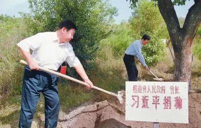 △2001年10月,时任福建省省长习近平到长汀县调研水土流失治理工作,在河田世纪生态园为他捐种的香樟树培土浇水