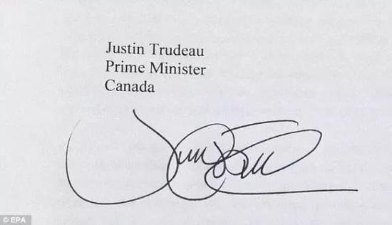 ▲比较一下,这是加拿大总理特鲁多的签名。(欧洲新闻图片社)