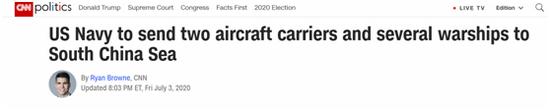 (CNN3日报道:美水师将派两艘航母及数艘战舰前去南海)
