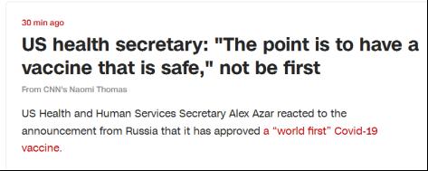 CNN报道:美国卫生部长表示,关键是要研制出安全的疫苗,而不是第一个研制出疫苗