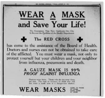 图为旧金山的佩戴口罩宣传单。